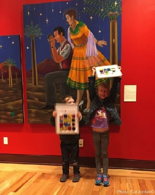 Kids show off their art work at the rockwell museum near the finger lakes