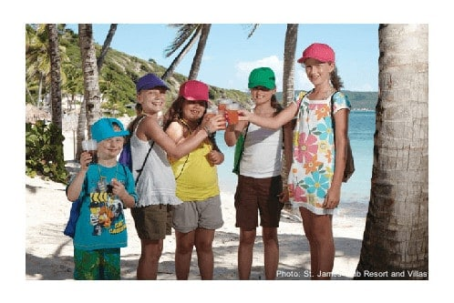 The st. James club resort has a kids club for the smallest beach goers