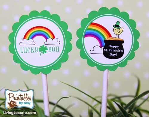 St. Patrick's Day Rainbow Crafts - Free Printable Rainbow Tags for Cupcakes