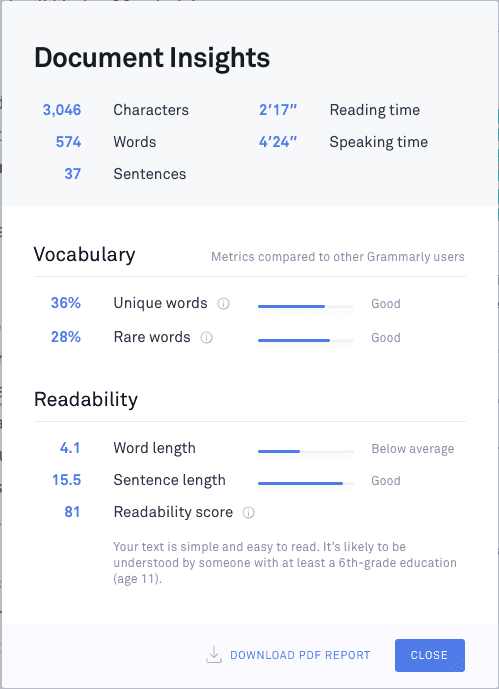 Grammarly Size Centimeters