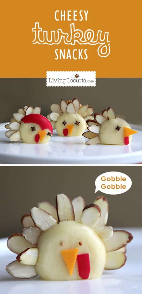 Turkey Cheese Snacks - Healthy Fun Food Idea for Kids by LivingLocurto.com #thanksgiving #funfood