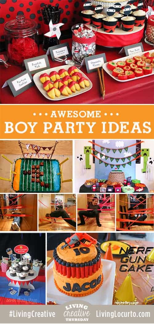 Party ideas for boys! Cake, free party printables, games and fun food ideas for Ninja, Minecraft, Spy, Football, Police and Nerf Gun party themes. #LivingCreative Thursday Feature on LivingLocurto.com