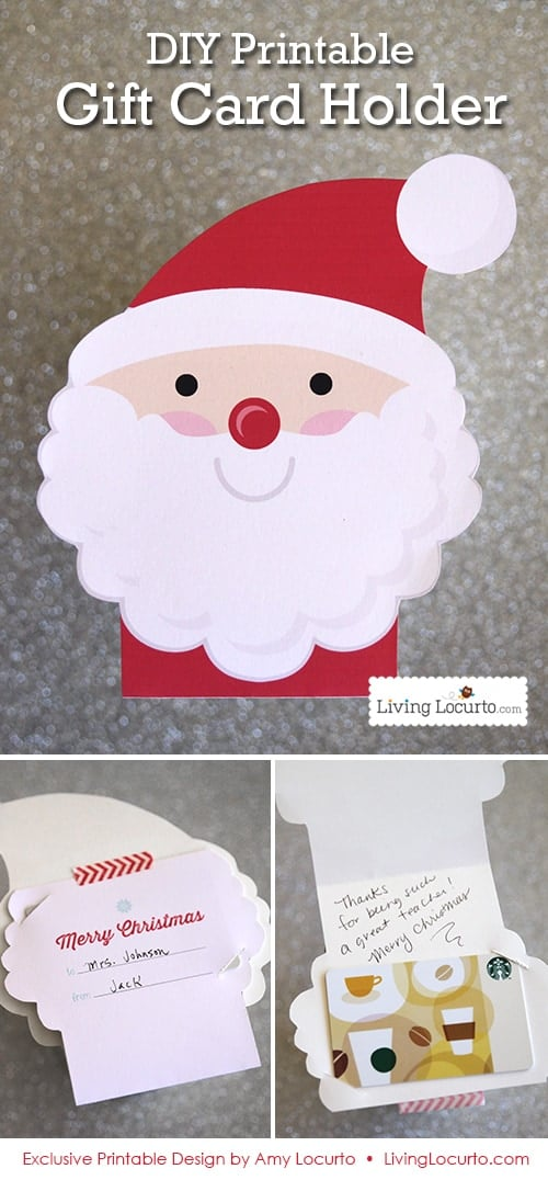Cute DIY Printable Santa Gift Card Holder & Ornament by LivingLocurto.com