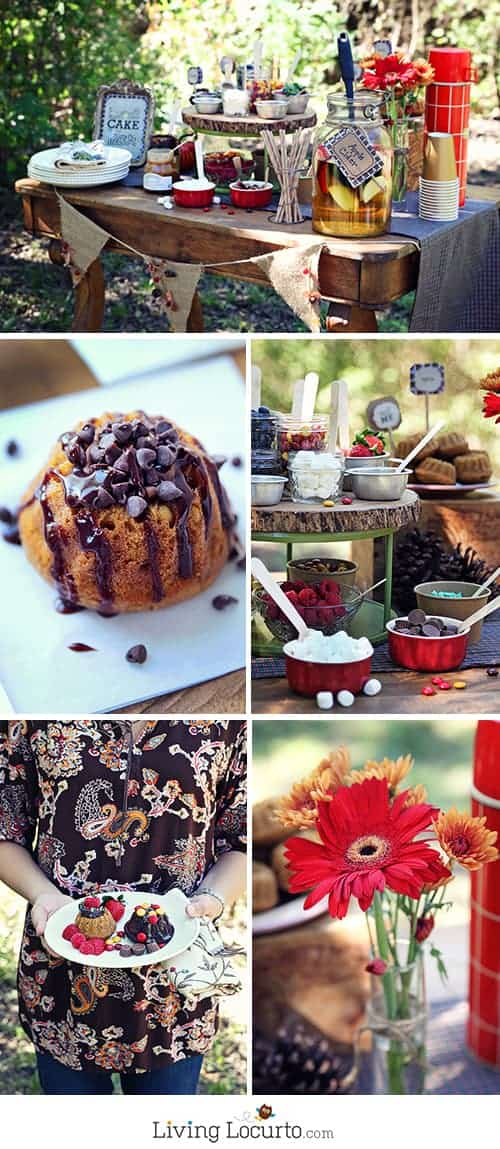 A Beautiful Fall Outdoor Decorate Your Own Mini Bundt Cake Bar Party. This simple dessert table and free party printables will impress your guests!  See more at LivingLocurto.com