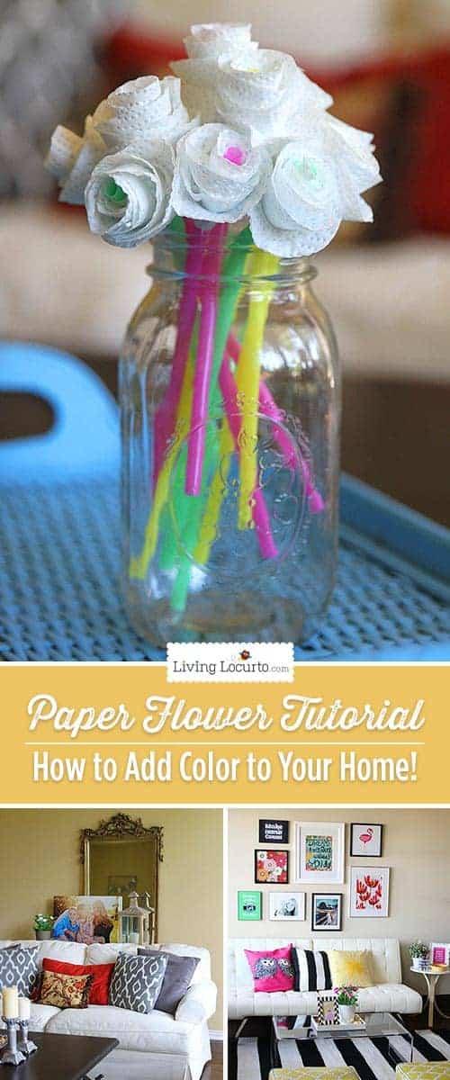 Paper Flower Craft Tutorial - How to Add Color to Your Home! LivingLocurto.com