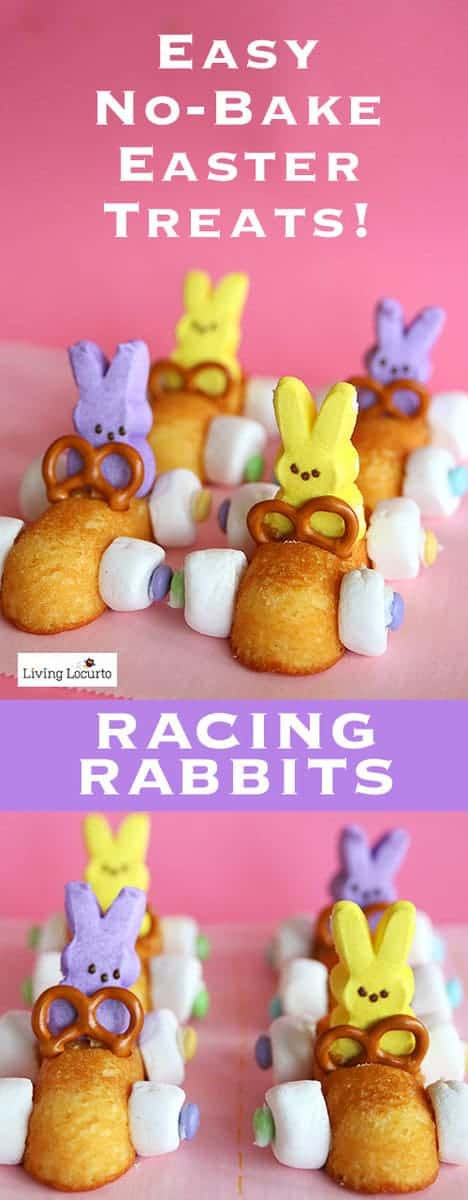 Easter Peeps Desserts made with Peeps marshmallows and Twinkies! A few fun food recipe ideas that you can do in minutes with Peeps. Easter Bunny Race Car Treats