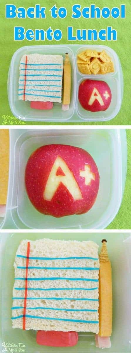 Easy Back to School Bento Lunch Box. This fun food School Bento Lunch is the cutest idea ever! Kids will smile when they open their lunch box to find this adorable edible paper, pencil and eraser.