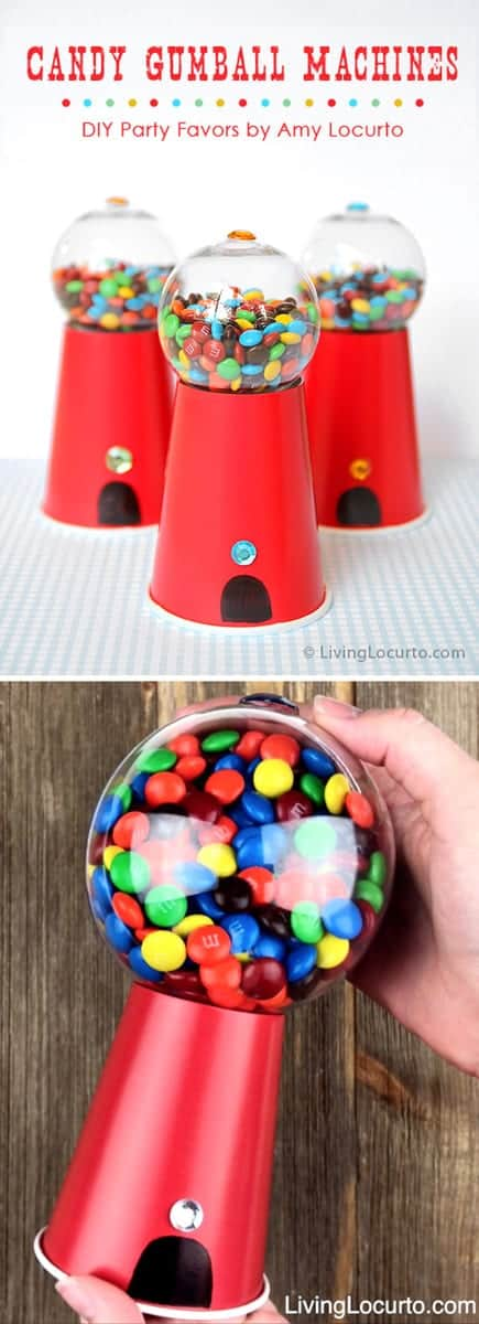 How to make a Candy Gumball Machine craft for gifts, party favors or a birthday party dessert table. A cute homemade candy gift idea. LivingLocurto.com