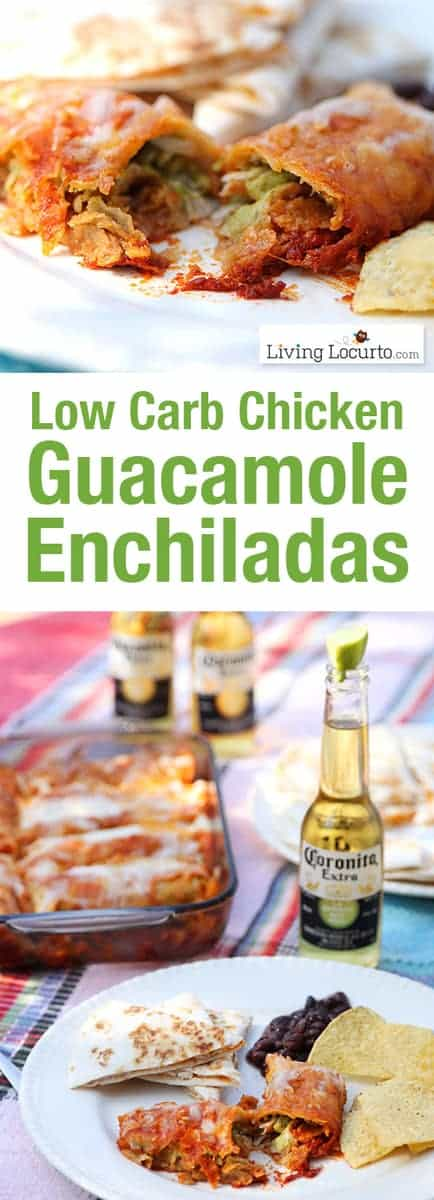 Low Carb Guacamole Chicken Enchiladas is a creamy avocado recipe! A quick and easy enchilada dinner that pleases the whole family.