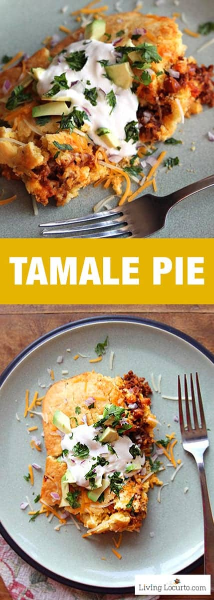 Tamale Pie is a simple to make homemade Mexican casserole recipe. Full of spices and lots of flavor, your family will love this for dinner! Perfect for party food for a crowd. #recipe #tamale #dinner #easyrecipes