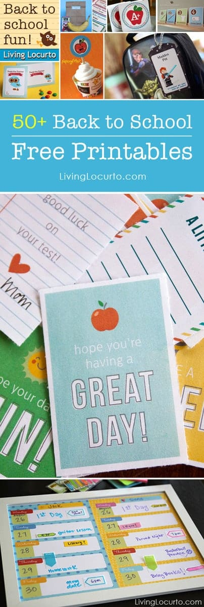 Over 50 Amazing Free Printables for Back to School! LivingLocurto.com