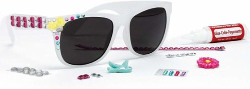 This diy sunglasses kit comes with glue, accessories and 3 sets of shades.