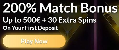200% match and 30 bonus spins