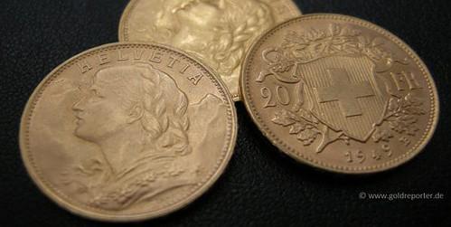 Goldmünzen, Vreneli (Foto: Goldreporter)