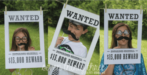 Wanted Photo Props for a Police Birthday Party by 733 Blog. Free party printables.  Featured on Living Creative Thursdays LivingLocurto.com