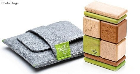 These magnetic wood tiles and blocks from tegu are just right for little hands.