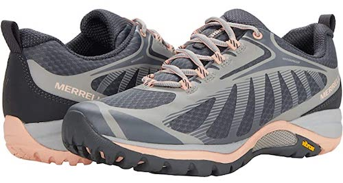 Merrell siren 3 is a waterproof fall hiking shoe and comes in feminine colors like light grey with peach trim.