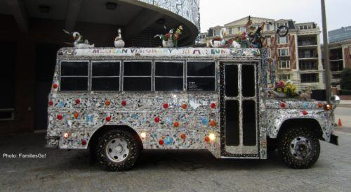 The bus outside of the avam in baltimore