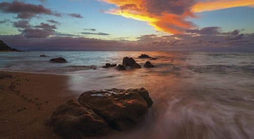 Thomas island at sunset on the beach