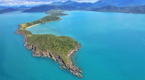 aerial of Grimston Point and Woodwark Bay in the Whitsundays