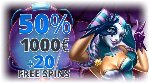 20 free spins and 1000 EUR welcome bonus