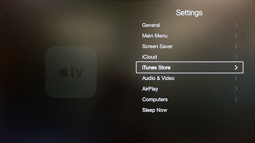 Apple TV Settings menu with iTunes Store highlighted.