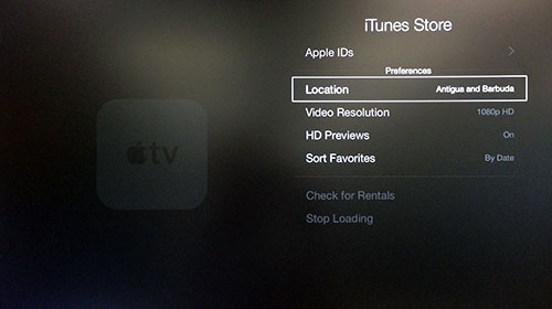 Apple TV iTunes Store menu with Location highlighted.