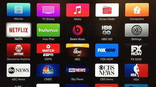 Apple TV screen showing U.S. content providers.
