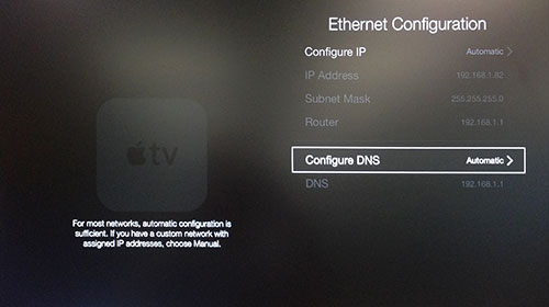 Apple TV Ethernet Configuration menu with Configure DNS highlighted.