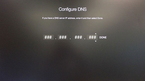 Apple TV Configure DNS screen awaiting input of IP address.