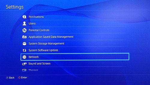 Écran Paramètres PlayStation avec l'option Réseau sélectionnée.