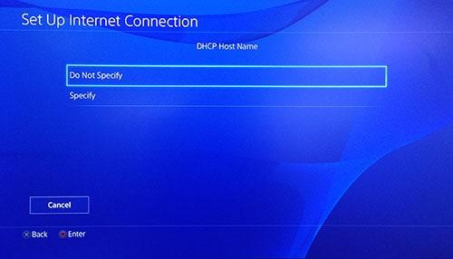 Page Nom d'hôte DHCP PlayStation avec l'option Ne pas spécifier sélectionnée.