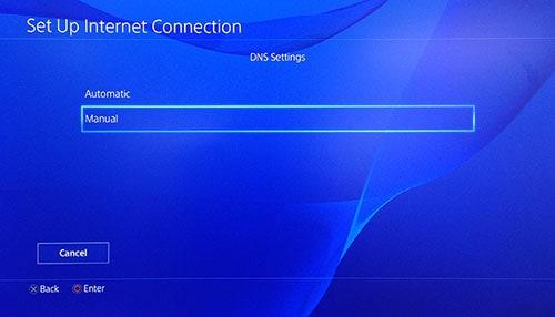 Page Paramètres DNS de PlayStation avec l'option Manuel sélectionnée.