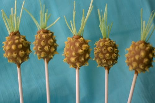 Luau pineapple cake pops. These creative Summer Cake Pops are perfect birthday or pool party desserts. From beach balls and sharks to lady bugs and crabs, enjoy these cute fun food ideas for cake pops!