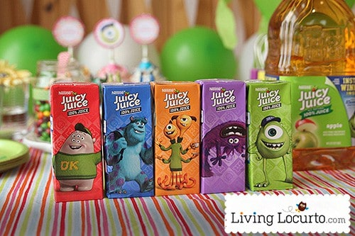 Monster Party Ideas with Free Party Printables by Amy Locurto. Juicy Juice boxes LivingLocurto.com