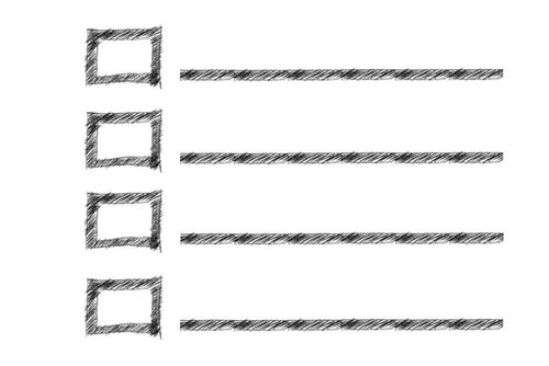 A checklist with boxes to tick