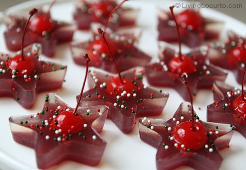 A fun and easy Christmas party recipe idea with jello. These Fruit Juice Cherry Jello Jigglers are great for both kids and adults!