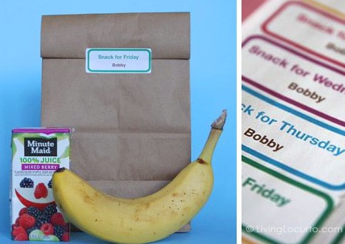 Free School Snack Labels