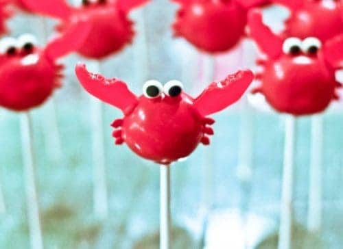 Crab cake pops. These creative Summer Cake Pops are perfect birthday or pool party desserts. From beach balls and sharks to lady bugs and crabs, enjoy these cute fun food ideas for cake pops!