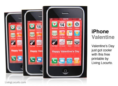 Free Printable iPhone Valentine for Kids! Adorable idea for class gifts on Valentines Day. Looks just like an iPhone. Livinglocurto.com