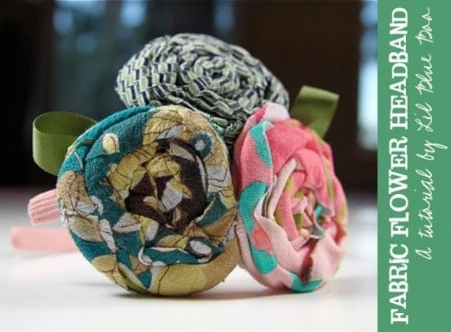 fabric flower headband - How to Make Fabric Flowers – 7 Easy No Sew Tutorials featured on Living Locurto