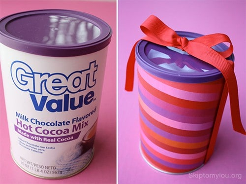 Repurposed Hot Chocolate Containers into Cookie Tins by Cindy from Skip To My Lou