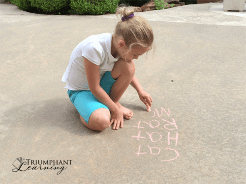 """Use sidewalk chalk to build word families. Suggest a word such as """"cat"""" and have your child write a new word by replacing the first letter to make a new word."""