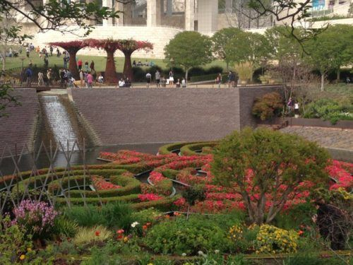 The getty  museum has beautiful gardens that kids love