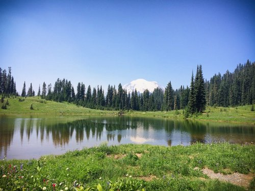 Tipsoo Lake at Mount Rainier National Park, where travelers can find some of the best camping in Washington state