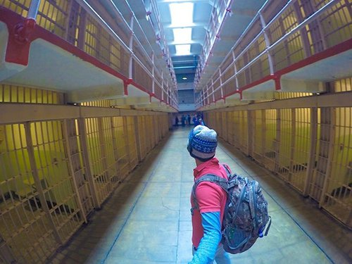 "Walking down ""Broadway"" in During The Alcatraz Prison Tour 