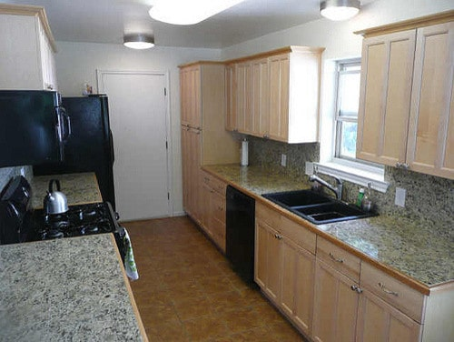 before remodel raised ranch kitchen with dated hardware