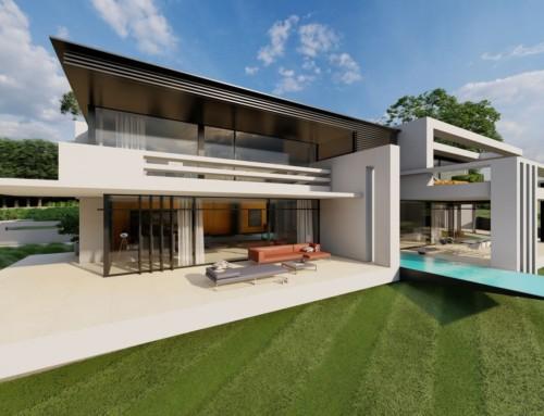 Moderne Luxusvilla mit Pultdach am Hang