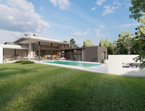 Haus mit Flachdach und Pool