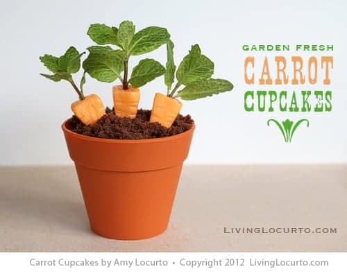 Carrot Cupcakes! Cute Fun Food Edible Craft idea with mint for Easter by LivingLocurto.com